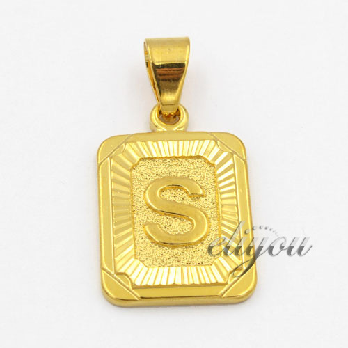 new fashion jewelry mens womens square pendant w s letter yellow gold filled pendant