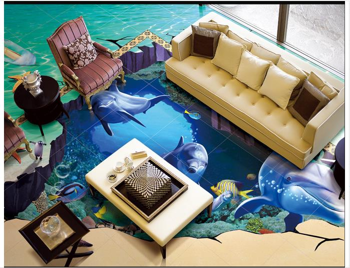 3D wallpaper custom 3d flooring painting wallpaper bottom of the sea bathroom floor tile 3 d art wall 3d living room decoration 30 millennia of painting