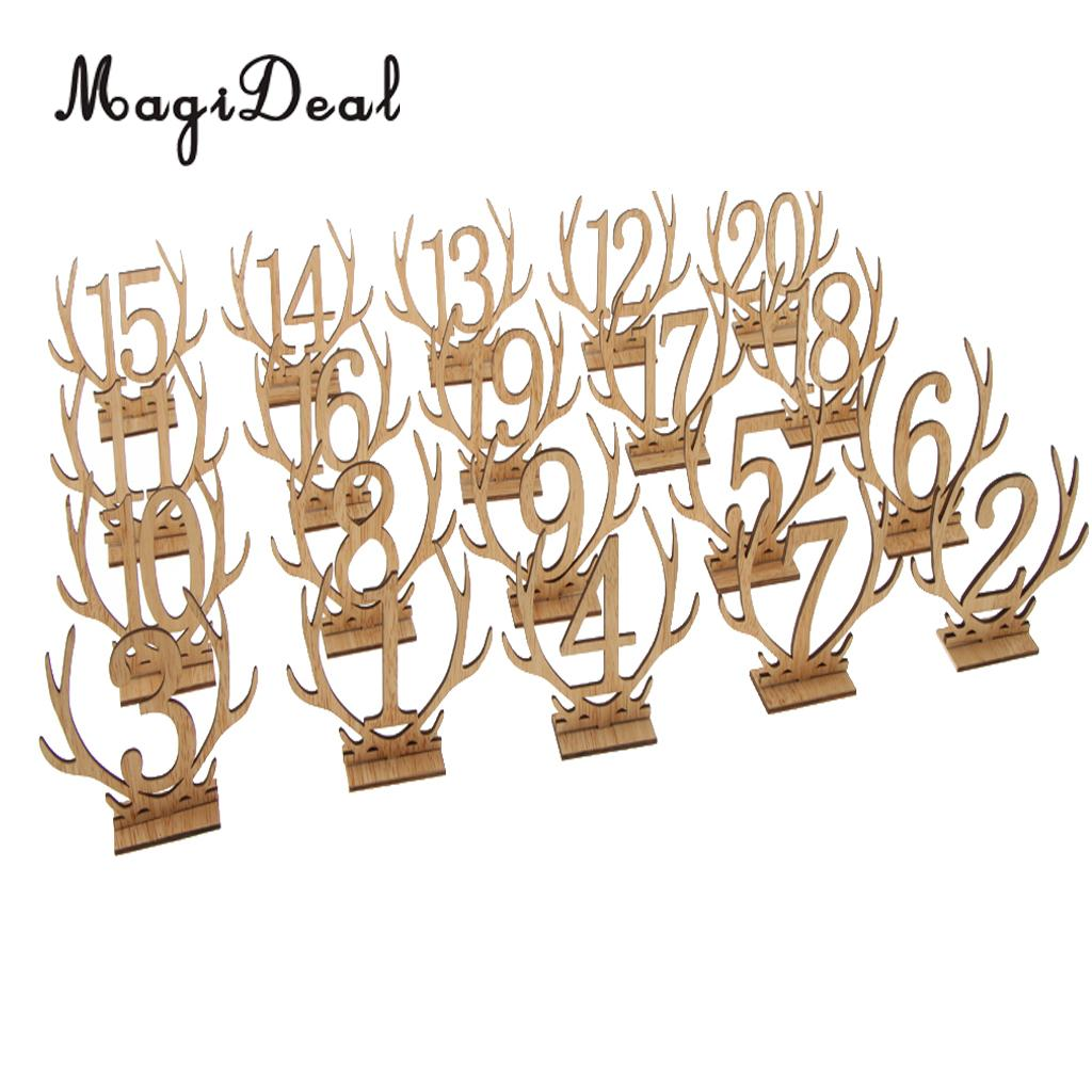 Wooden Antler Freestanding 1-20 Table Number Sign Stand Wedding Table Decor