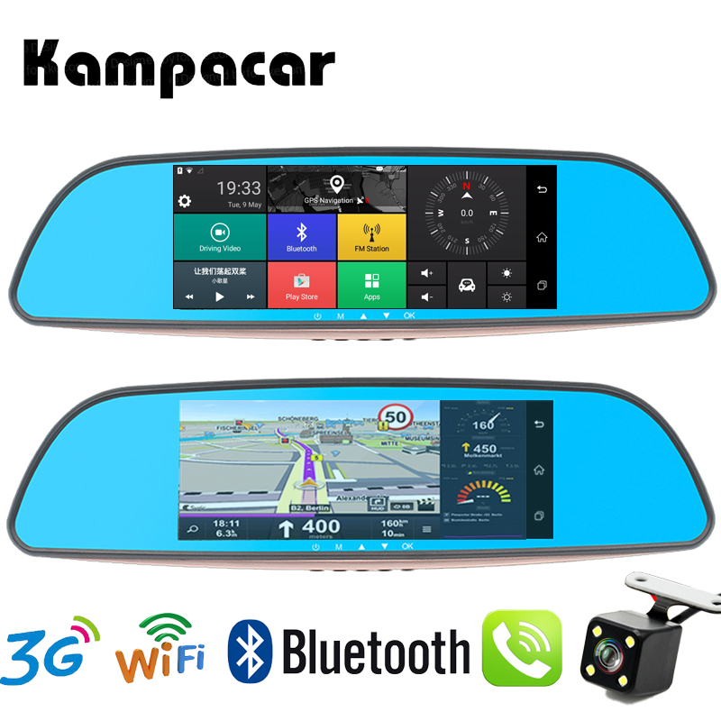 Kampacar Android Smart Mirror 7.0 Inch Touch Car Dvr Dual Lens Wifi Dash Cam GPS Navigation Rear View Camera Auto Video Recorder цены