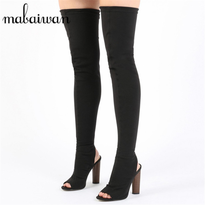 Mabaiwan Fashion Over The Knee Women Stretch Long Boots Peep Toe Slingback High Heel Thigh High Boot Women Elastic Sock Botas fashion blue denim boots women over the knee boots point toe sexy belt decor crystal thigh high boot cowboy high heel long botas