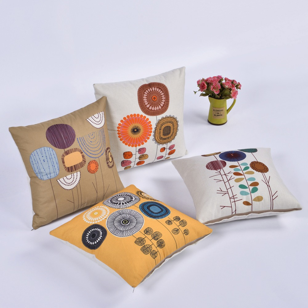 Idyllic creative life tree flower cotton sofa pillow office waist relying on the living room cute pillow office cushion in Cushion from Home Garden