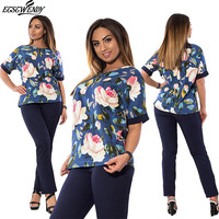 5XL 6XL Large Size Office Two Piece Suit Fashion Summer 2017 Big Size Print Casual Work