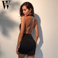 WYHHCJ 2017 Vestidos Sexy Off Shoulder Summer Dress Deep V Neck Sleeveless Mini Women Dress Backless