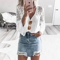 2019 Women Elegant Sexy Patchwork White OL Casual Shirt Female V-Neck Leisure Top Hollow Out Lace Splicing Flared Sleeve Blouse Blouses
