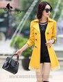 WomensDate 2016 Hot Sale Da Moda Outono Inverno Casual Amarelo-Manga Longa Rendas Cintura Fina Trincheira Casaco de Trincheira das Mulheres casaco