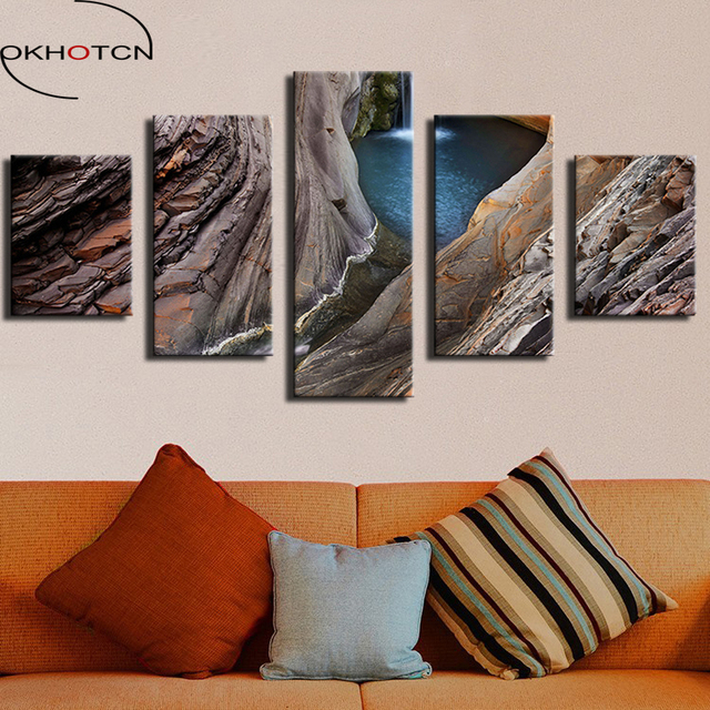 OKHOTCN-peinture murale en cascade | Cadre imprimé, cascade Gorge National Park australie, tableau décoratif de maison, sur toile, 5 pièces