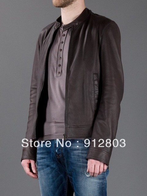 SPECIAL OFFER High Quality Men's Fashion Rib Collar Metal Logo Slim Washed Leather Suede Coats & Jackets, Original Famous Brand