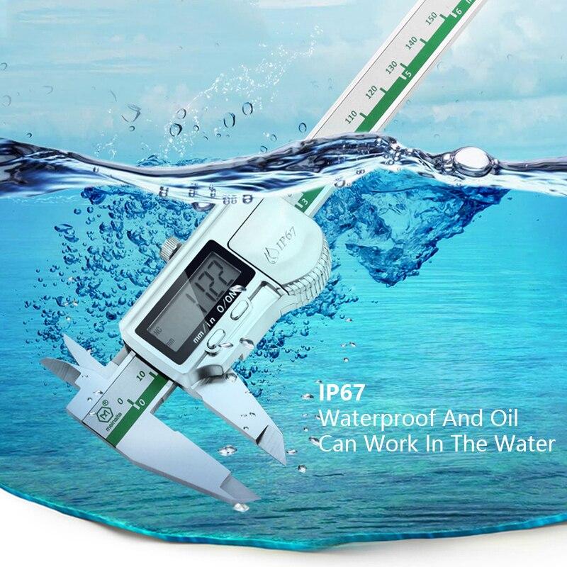 Waterproof IP67 Digital Vernier Calipers 150mm Accuracy 0.02mm Metric & Inch LCD Digital Display Plumbing CNC