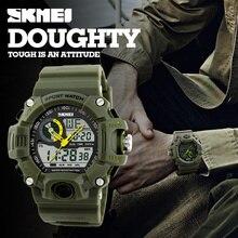 Skmei homens esportes relógios de luxo da marca s-choque relógio dos homens levou à prova d' água quartz militar assista relogio masculino digital-relógio