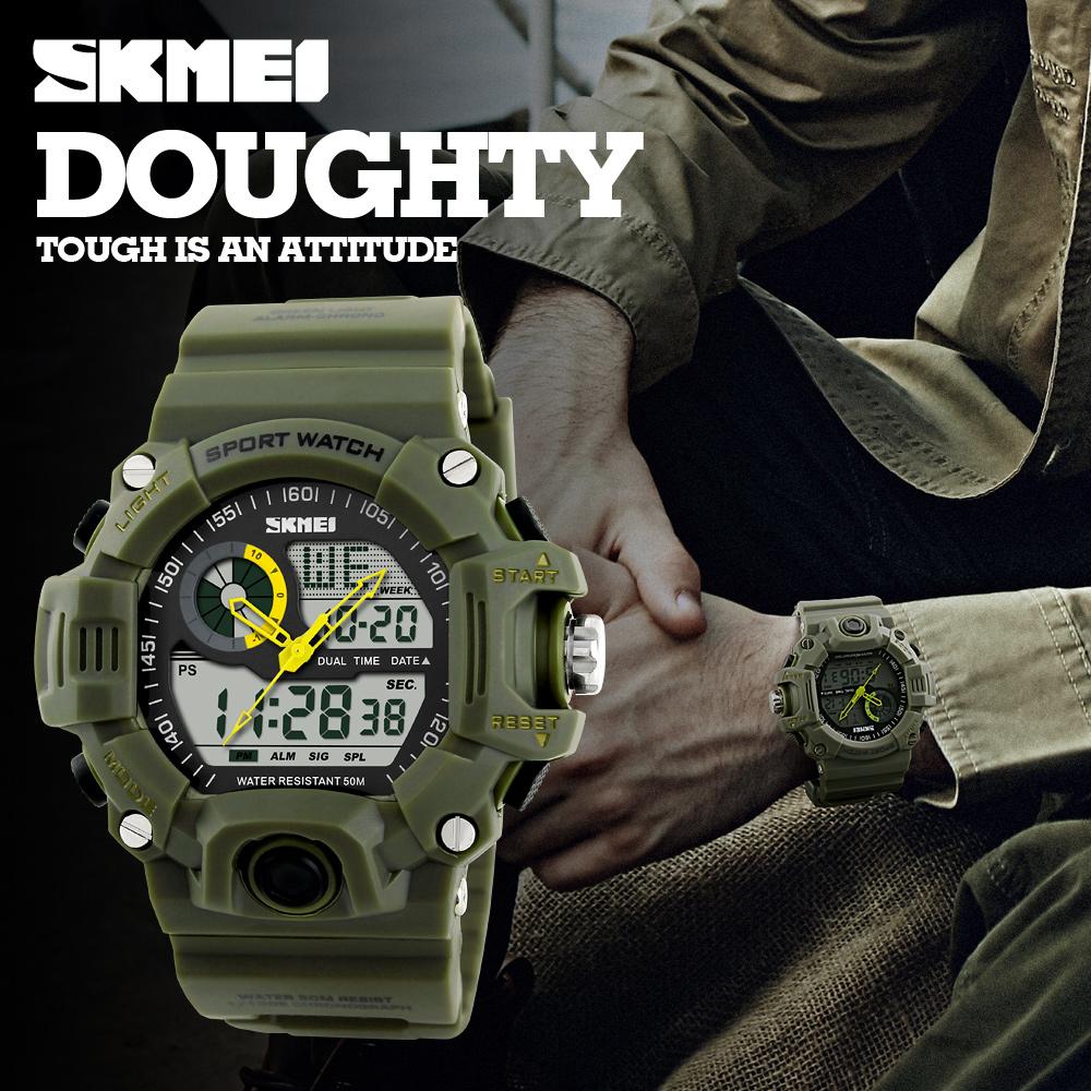 Prix pour Skmei Marque De Luxe Hommes Sport Montres S-SHOCK Hommes de Montre LED étanche Quartz Militaire Montre relogio masculino Numérique-montre