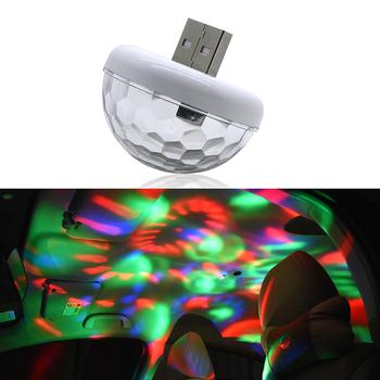 Samochodowe oświetlenie otoczenia LED USB Ambient Super Mini romantyczne przyjęcie świąteczne światła DJ zmiana koloru dźwięk Actived Crystal Magic tanie i dobre opinie NoEnName_Null Klimatyczna lampa
