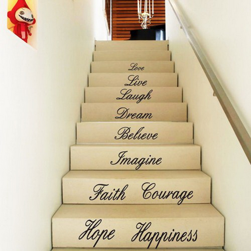 Hatop Love Live Laugh Dream Believe Imagine Courage Hope Happiness Decal Removable Wall Stickers Stair Decor