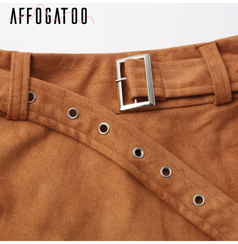 Affogatoo High waist suede leather skirts 18 Autumn winter belt ruched bodycon skirt Women asymmetric short skirts female 13