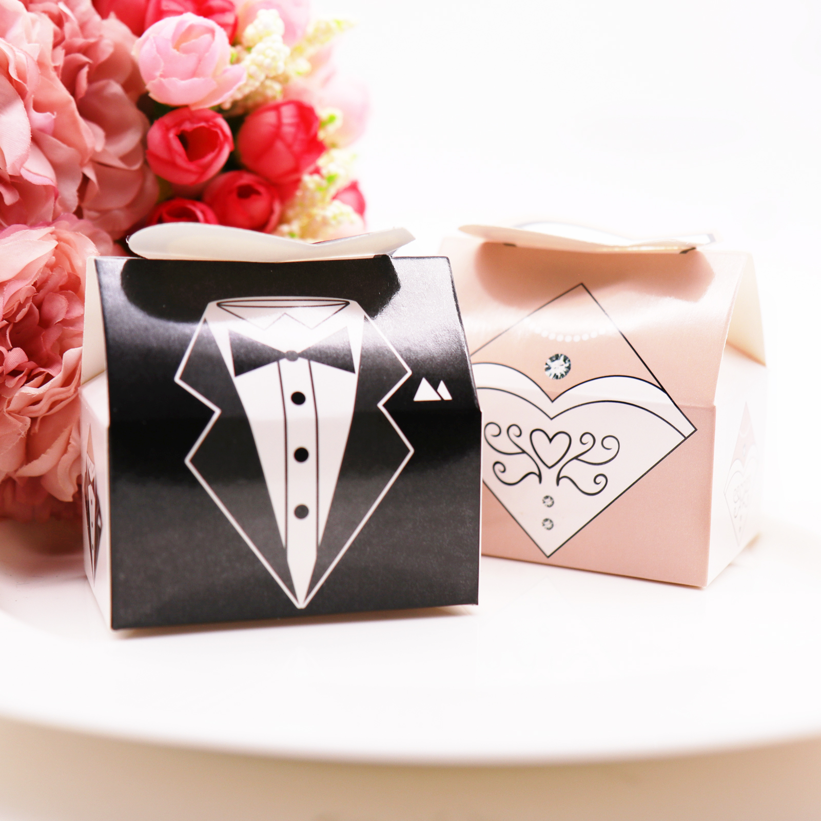 50pcs Bride And Groom Candy Box Gift Box For DIY Bridal