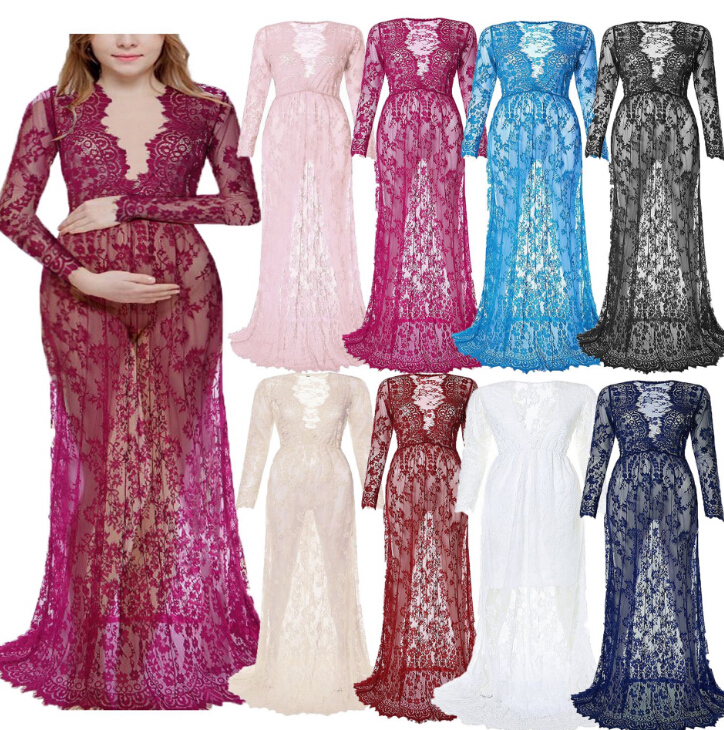 New Maternity Photography Props Pregnancy Fancy Dress Lace Robe Strapless Maxi Gown Maternity Dress Split Front Women Long Dress pop relax hexagon jade tourmaline germanium stone jade cervical pillow pr p002 massage relaxant cervical tourmaline pillow hot