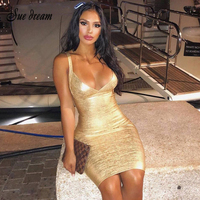 High Quality New HL Sleeveless Gold Print Bandage Dress Deep V Neck Foiling Sexy Celebrity Bodycon Cocktail Party Dresses