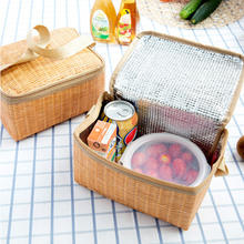 Hot Sale Portable Plastic Thermal Lunch Tote Bag Imitation Rattan Lunch Storage Bag Cooler Bag Insulated Lunch Box Picnic Bag(China)