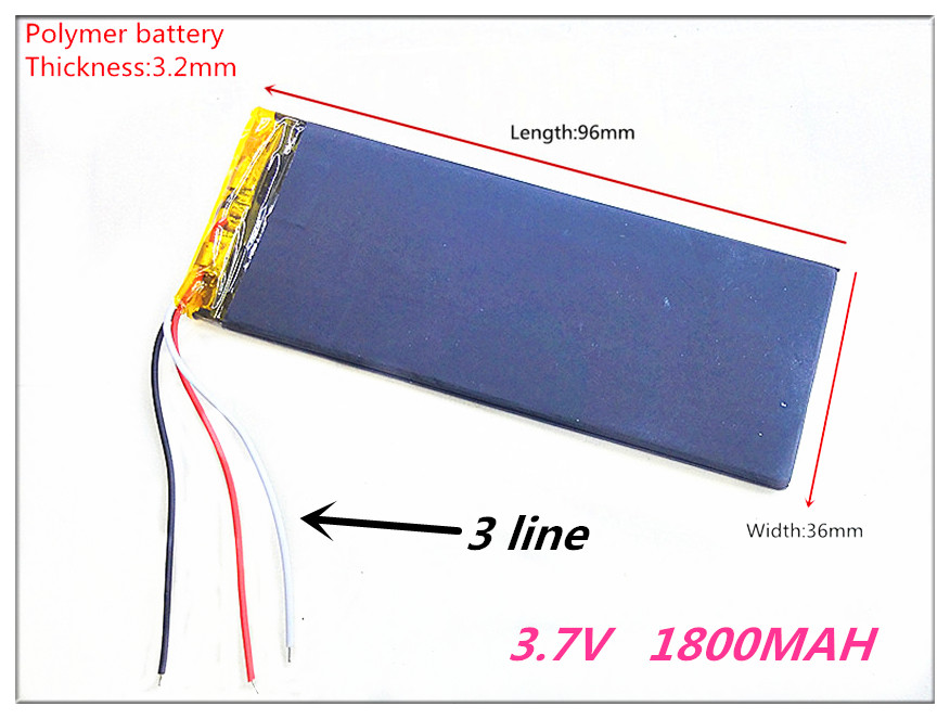 3 line RNEW XWD 323696P 323696 <font><b>3.7V</b></font> <font><b>1800MAH</b></font> <font><b>battery</b></font> li-Lion for china clone MTK phone image