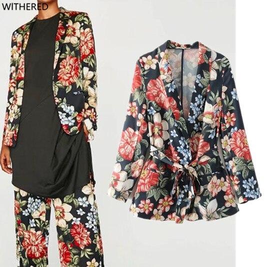 Withered women freeshipping blazer feminino jacket Floral print Tie belt The fashion leisure temperament women jacket