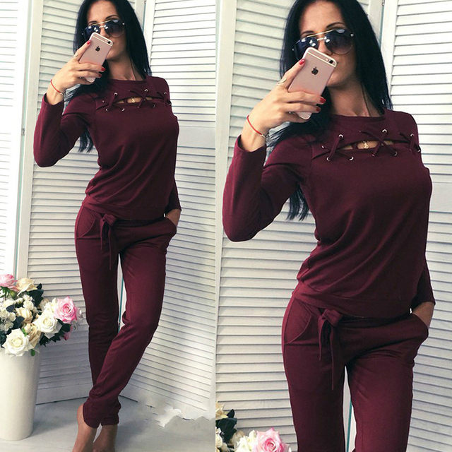 2018 Autumn Winter Women Cotton Suit Sets 2 Piece Set Outwear Solid Sportswear Suit Woman Hoodies Tracksuit Costumes Hollow Out