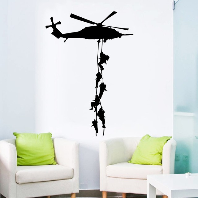 military vinyl decor wall sticker helicopter wallpaper for boys army