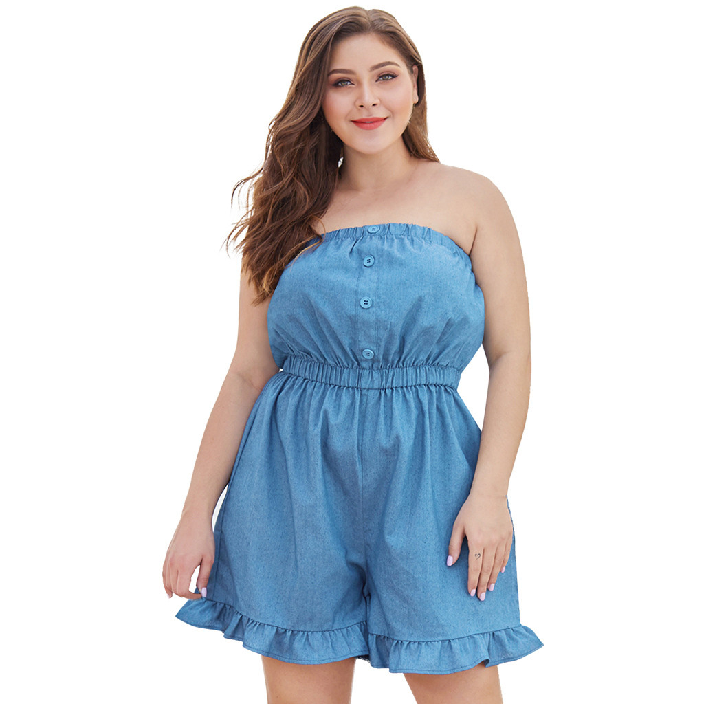 FREE OSTRICH   Jumpsuits   For Women 2019 New Fashion Women Plus Size Casual Wrapped Chest Ruffled Wide Leg Denim Shorts   Jumpsuit