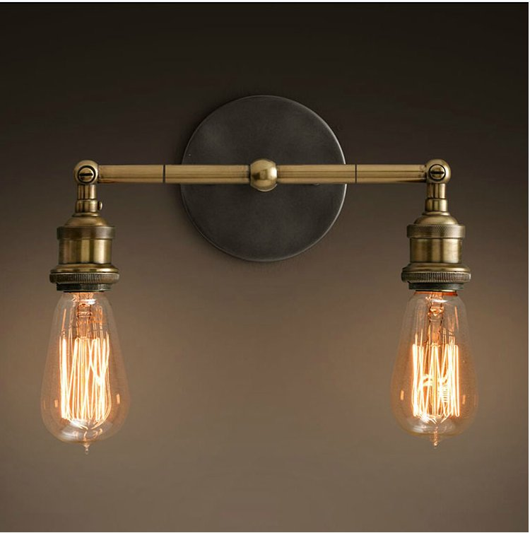 ФОТО NEW Industrial Aged Brass Metal Vintage Wall Lamp Retro Wall Sconce Edison Lamp