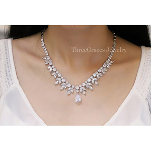 Image 5 - ThreeGraces Top Quality American Bridal Accessories CZ Stone Wedding Costume Necklace and Earrings Jewelry Sets For Brides JS003