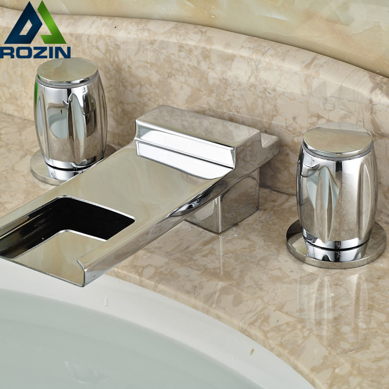 Luxury Long Waterfall Spout Bathroom Sink Faucet Dual Handle Brass Chrome Hot and Cold Basin Mixer Taps luxury long spout basin faucet brass antique