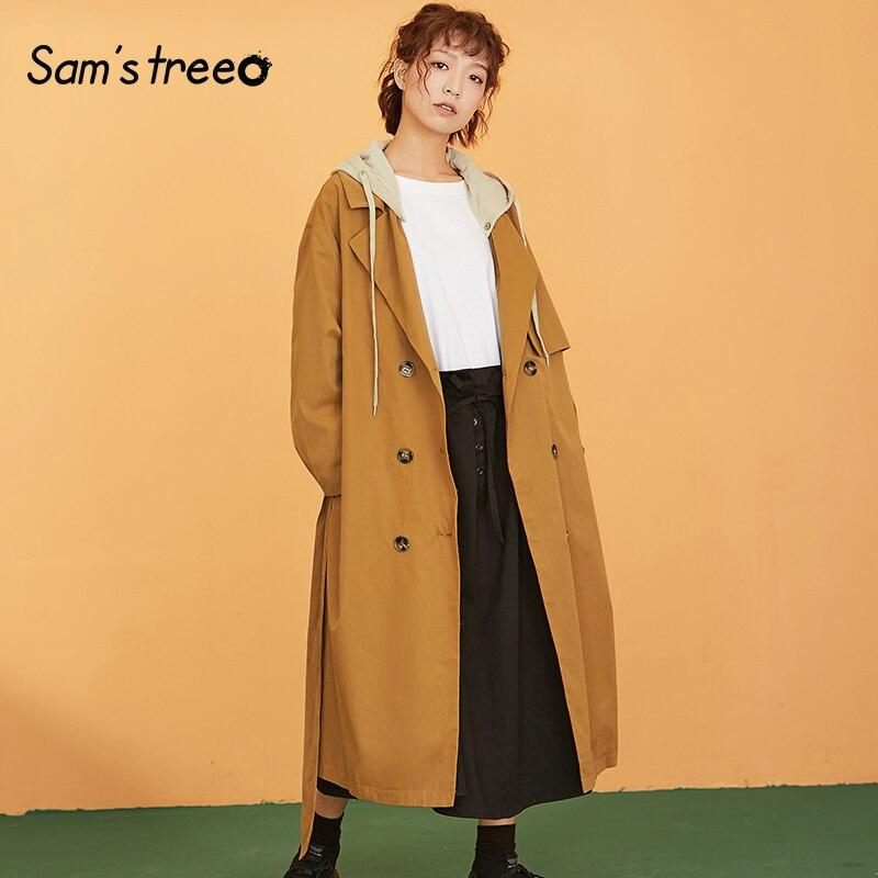 Manteau Long à capuche amovible Samstree en coton transparent pour femmes Trench Coat taille large ceinture vêtements d'extérieur pour femmes