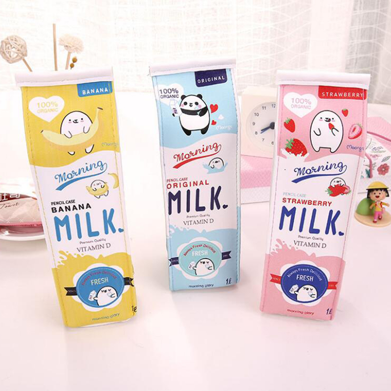Cute School Case Korea School Pencil Case Milk Pencil Case Unusual Pencil Cases For Girls Boys School Supplies