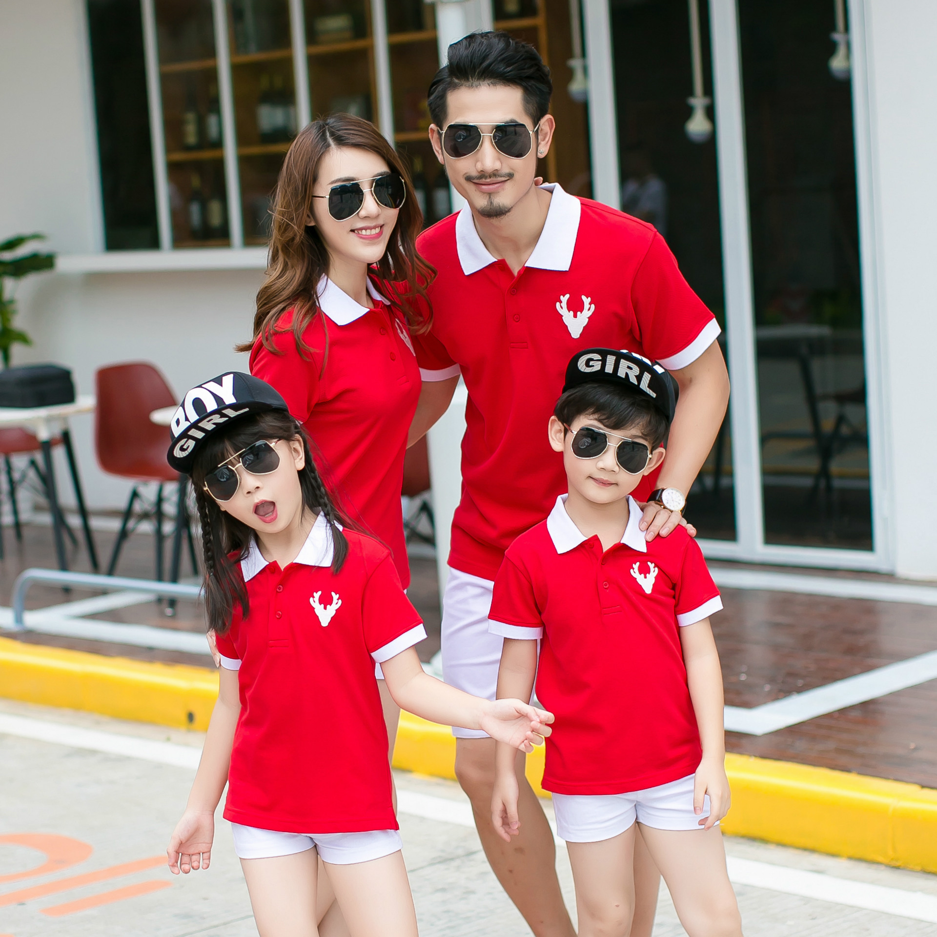 family matching clothes summer 2017 Kindergarten school clothing Dad Mom Baby cotton t shirts polo