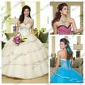 2016 Nova Moda Branco Azul Rosa Quinceanera Vestido de Baile de Cristal Frisado Vestido Quinceanera Debutante Vestido Com Jaqueta de Cristal
