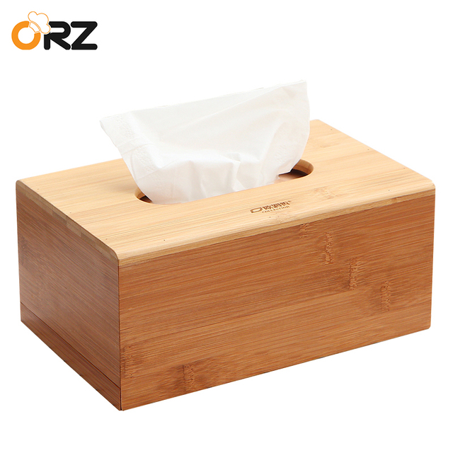 Zeer ORZ Bamboe Tissue Doos Houder Houten Papier Servet Cover @EA49
