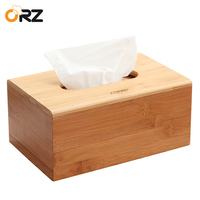 ORZ Bamboo Tissue Box Holder Wooden Paper Napkin Cover Removable Paper Storage Case Home Car Office Kitchen Tissue Box