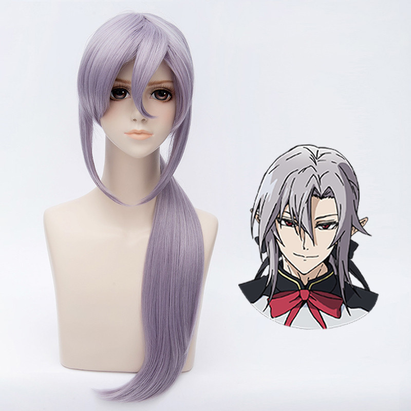 Anime Seraph Of The End Ferid Bathory Cosplay Wigs And Wig Cap Halloween,party,stage,play Gray Purple Long Hair High Quality