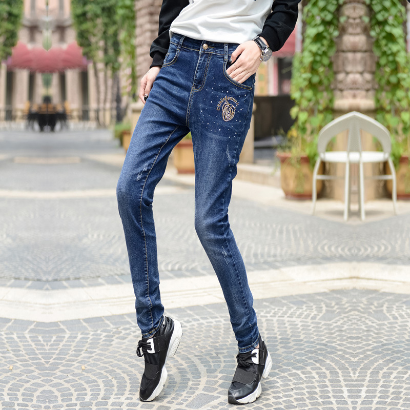 In the autumn of 2016 new students jeans slim pencil pants feet female Korean women's jeans high waist jeans women soft hole ripped skinny slim stretch denim jeans for girl push up jeans ankle length camisa feminina