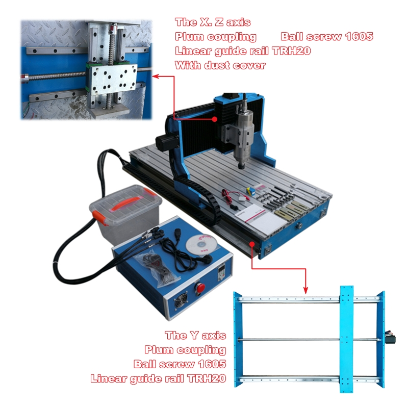 Guide linéaire 3040 CNC routeur 2200 W USB 4 axes Machine de gravure sur métal 3 axes