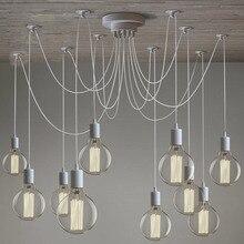 ロフトモダン白/黒光沢シャンデリア6 16シェード調整可能エジソン電球ランプe27アートクモ天井照明器具器具