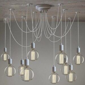 Image 1 - LOFT Modern White/Black Lustre chandeliers 6 16 Arms Retro Adjustable Edison Bulb Lamp E27 Art Spider Ceiling luminaire Fixture