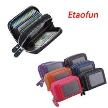 Etaofun модный бренд натуральная кожа Для женщин держателя карты мешок двойной молнии большой Ёмкость Для мужчин ID кредитных карт сумка Женские Кошельки