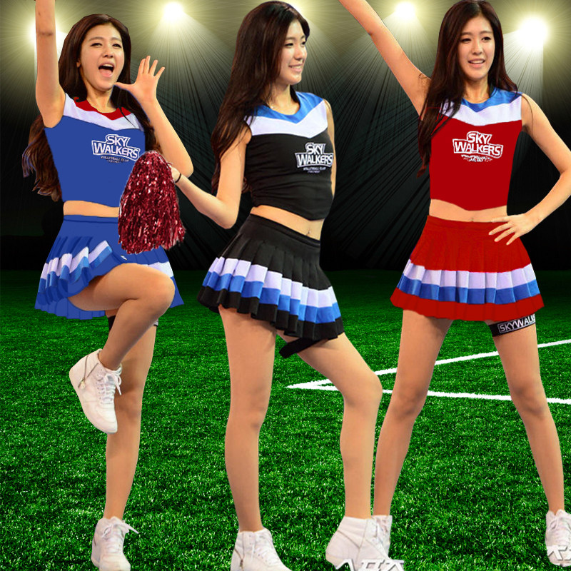 Free shipping,high school girl cheerleader cheerleading uniform Dress Fancy Costume Outfit Pom Poms callisthenics costume