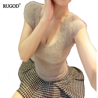 RUGOD 2017 Women Mink Cashmere Knitted Sweater Vest Female Sexy V Neck Short Sleeve Jumper Thin