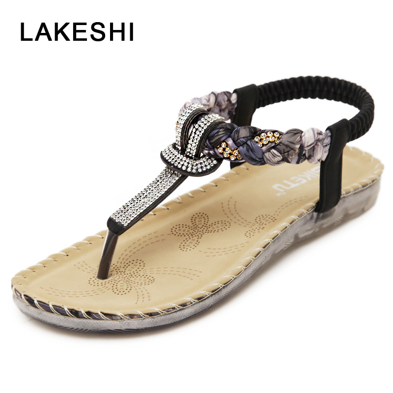 LAKESHI Floral Women Sandals Fashion Crystal Sandals Woman Behomia Casual Flats Sandals Rhinestone Women Shoes Flip Flops vintage embroidery women flats chinese floral canvas embroidered shoes national old beijing cloth single dance soft flats