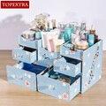 TOPEXTRA Gran Flor DIY Joyería de Madera PVC Maquillaje Cosméticos Caja de Almacenamiento Organizador Caja de Almacenamiento de Escritorio Cajón de la Cómoda