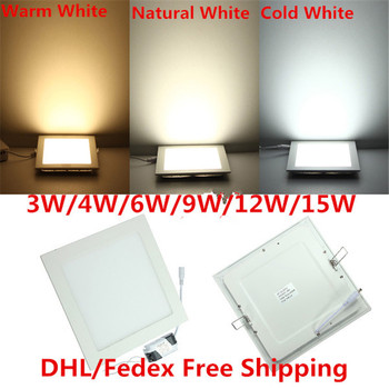 Square LED Panel Light 3W 6W 9W 12W 15W 25W Recessed LED Ceiling Downlight Warm/Natural/Cold White 85-265V Light for Home Decor