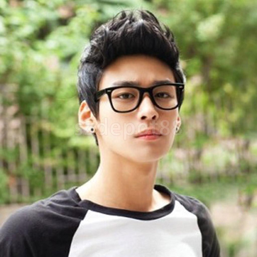 Fashion Mens Boys Handsome Black Short Quiff Hair Cosplay Party Costume Synthetic Hair W ...
