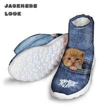 Jackherelook ботильоны Denim Cat принт Для женщин Ботинки обувь с круглым носком Женская бабочки Зимние непромокаемые Водонепроницаемый загрузки