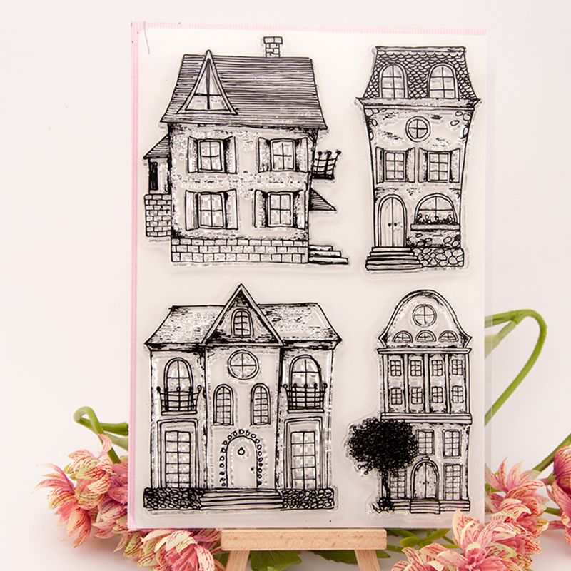 kinds of Old Buildings House Clear Stamps for Scrapbooking DIY Silicone Seals Photo Album Embossing Folder Paper Maker Crafts